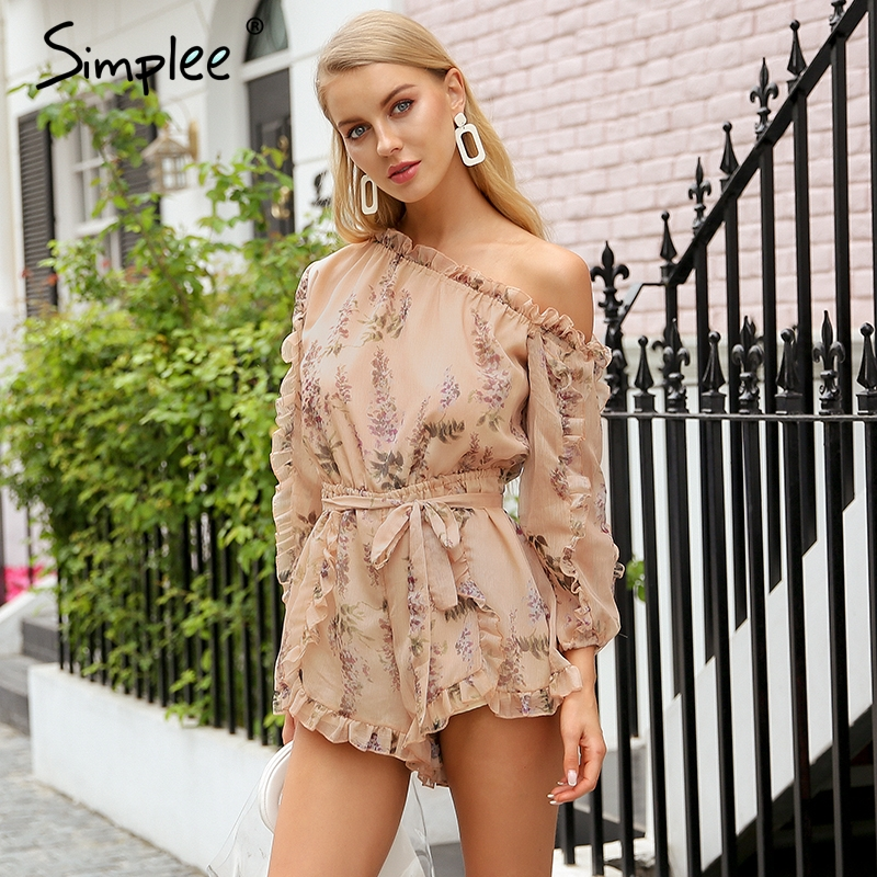 Simplee Ruffle Off Shoulder Print Jumpsuit Women Elegant Sash Long Sleeve Sexy Jumpsuit 2018 New Casual Summer Jumpsuit Romper by Simplee