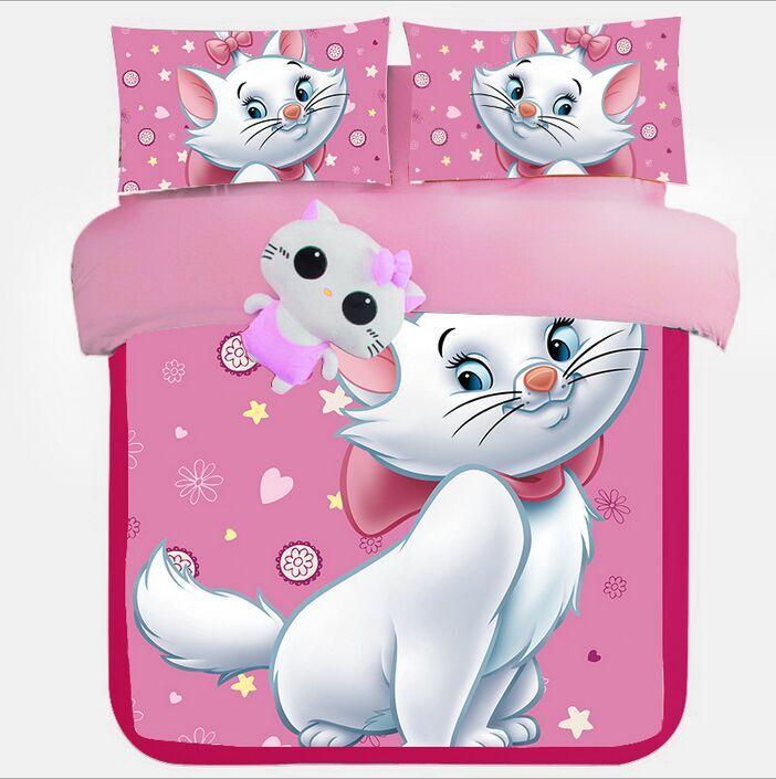 Cartoon Marie Cat Girls Childrens Kids Bedding Set Duvet