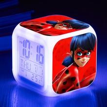 Japan Anime ladybug Alarm Clock Projection Clock LED Flashing Light Action toy figures Electronic Toys Digital Clock