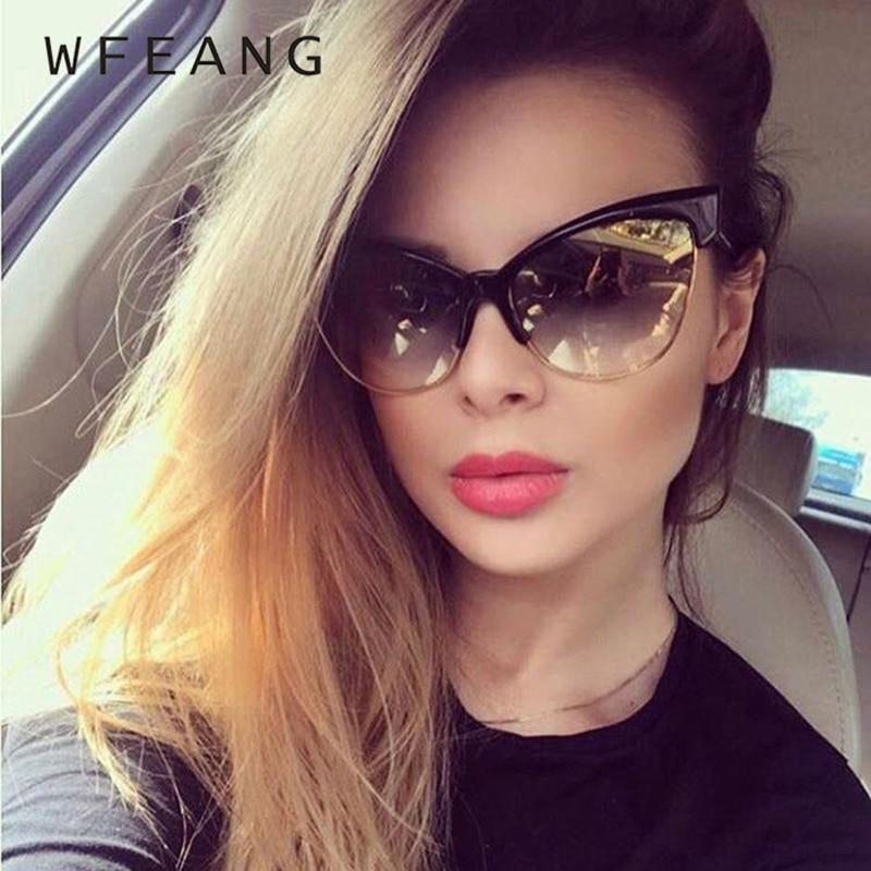 08877c8a2e355 WFEANG Marca Designer de Moda Olho de Gato Óculos De Sol Mulheres Tom Óculos  de Sol Tamanho Grande Pontos Gradiente Cateye Oversize Do Vintage Feminino