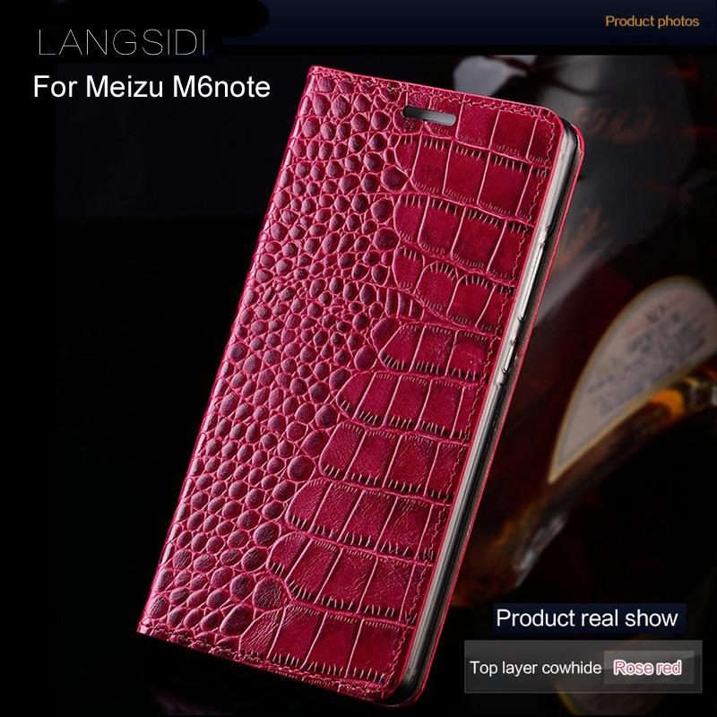 wangcangli brand phone case genuine leather crocodile Flat texture ForMeizu M6note handmade