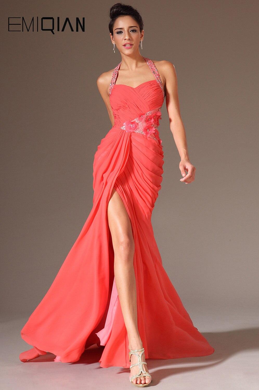Livraison gratuite licou Orange mousseline de soie robes de soirée formelles robes