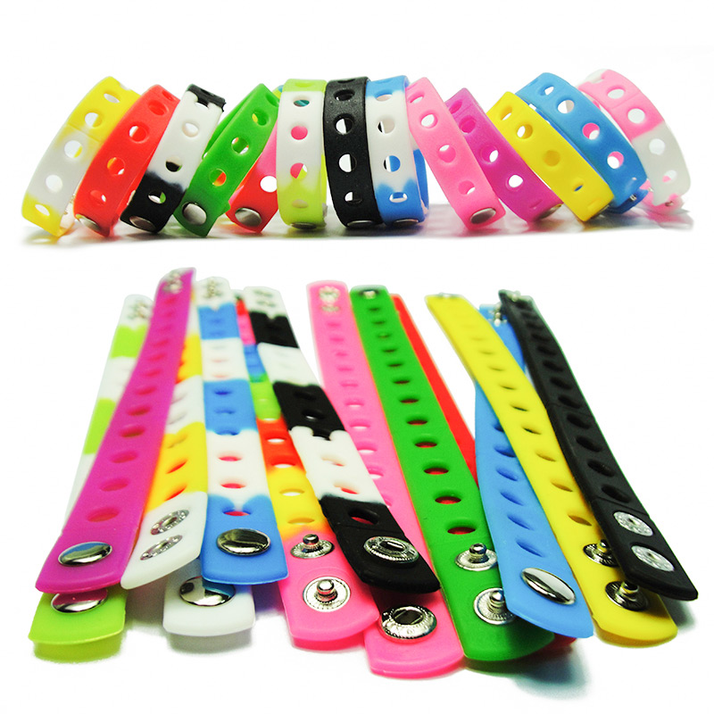 Free DHL-200PCS Mixed Color Fashion Silicone Wristbands Bracelets Bands Wholesale Fit For Shoe Charms 18cm Kids Xmas Gift