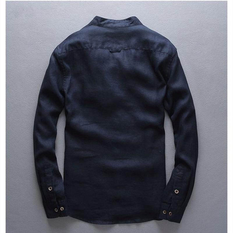 Italien stil 100% linned skjorte mænd langærmet afslappet mænd - Herretøj - Foto 2