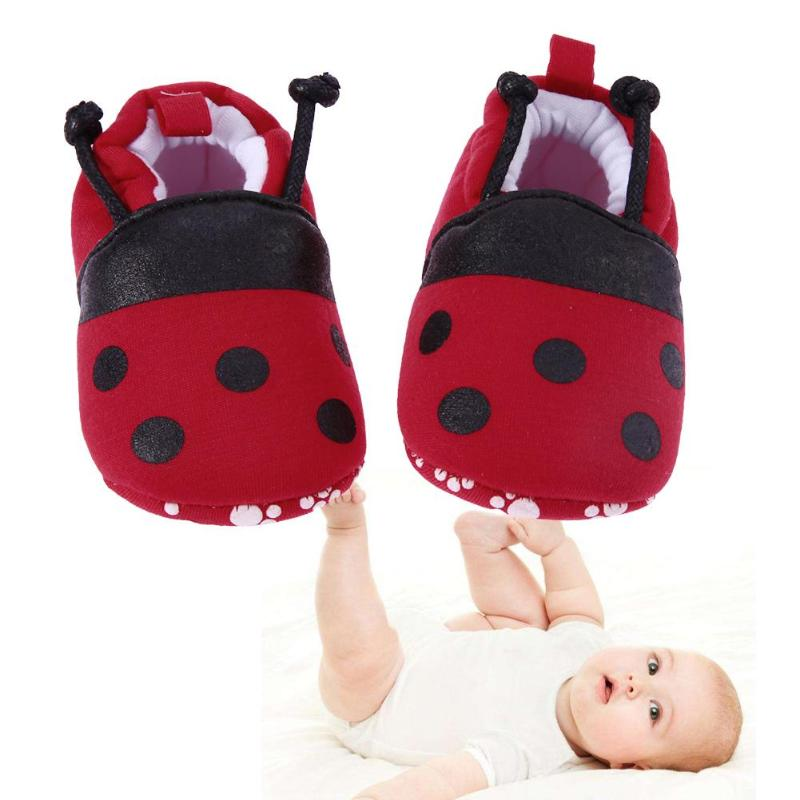 Infant Soft Soled Footwear Cartoon Red Ladybug Pattern Baby Shoes For Newborns Elastic Band Soft First Walker Winter Warm Shoes