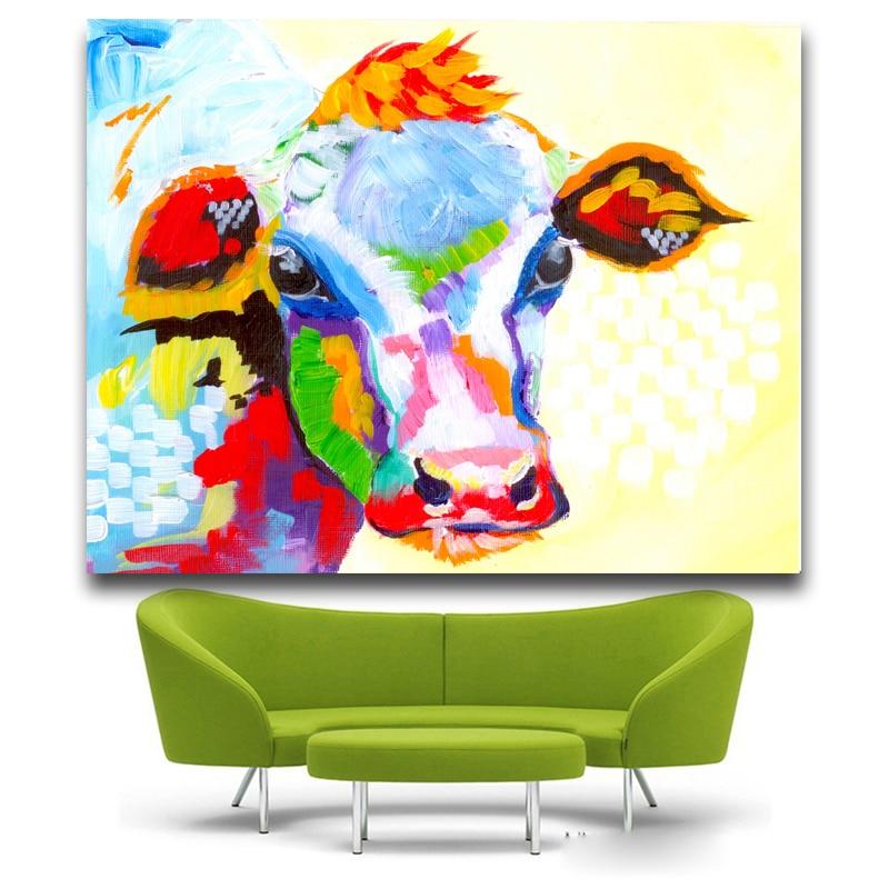 Berėmiai paveikslėliai Abstraktus karvės spausdinimas Tapyba - Namų dekoras - Nuotrauka 4