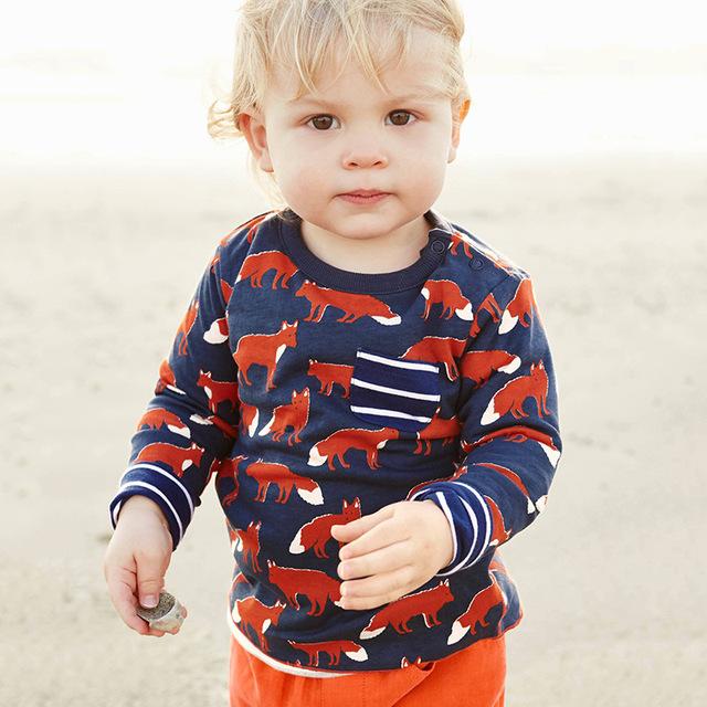 Marca de Moda Roupa Dos Miúdos Bonito Moda Outono Camisa Meninos T Designer de Meninos Da Criança Do Bebê Roupas de Algodão de Manga Comprida T Camisas