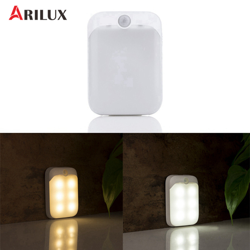 ARILUX 6Leds LED Night Lights DC5V PIR Motion Sensor LED Lamp USB Rechargeable Portable Wall Light