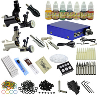 2 Rotary Tattoo Motor Guns Professional Tattoo Machine Kit With Tattoo Power Supply Needles Set Ink