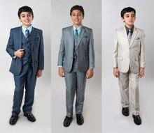 все цены на Boys 3 Piece Sharkskin Suit Kids Children Formal Wedding Ring Bearer Suits онлайн