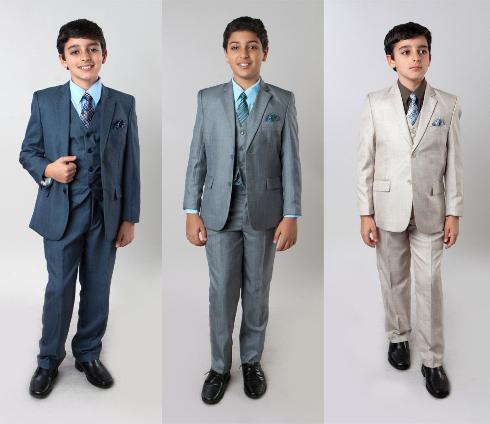 Garçons 3 pièces Sharkskin costume enfants enfants formelle mariage anneau porteur costumes