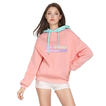 Kpop Moletom Harajuku Hoodies Sweatshirt Women Love Yourself Answer Patchwork Fleece Korean Popular Hip Hop Fans Pullover