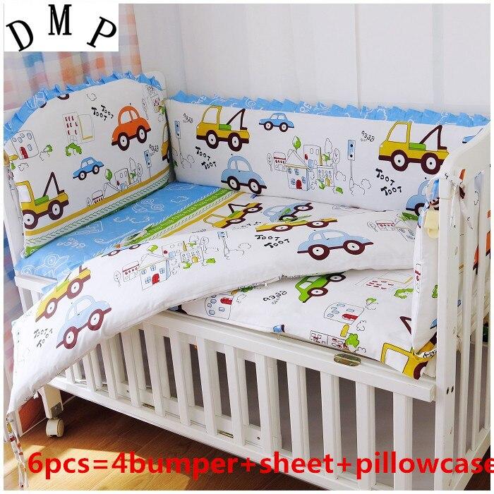 6PCS Cars Baby Bedding Set Cotton Curtain Crib Bumper,baby Cot Sets Baby Bed Bumper Kit De Berço (4bumper+sheet+pillow Cover)