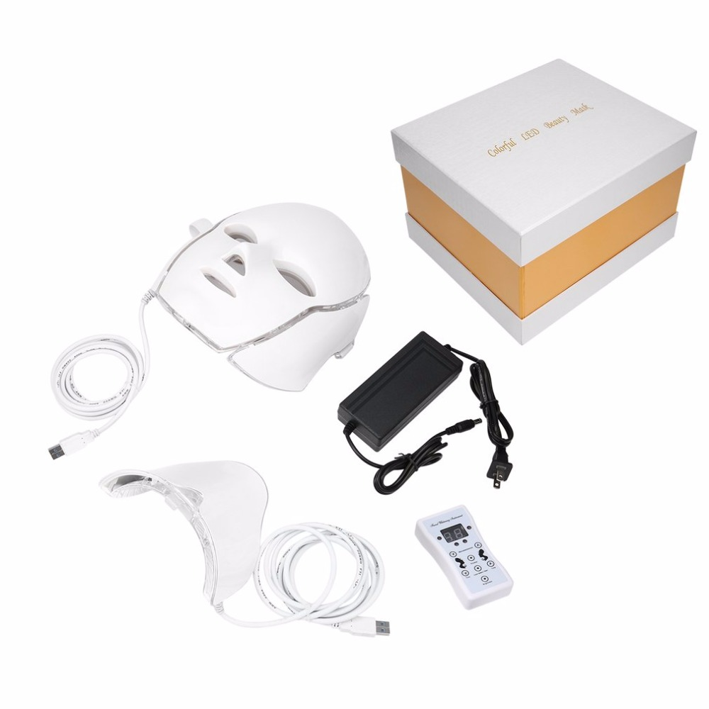 LED 7 Colors Light Microcurrent Facial Mask Machine Photon Therapy Skin Rejuvenation Facial Neck Mask Whitening Electric Device led photon therapy 7 colors light treatment facial beauty skin care rejuvenation light therapy acne treatment mask