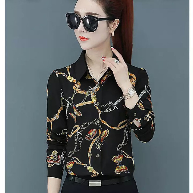 Women Spring Summer Style Blouses Shirts Lady Casual Long Sleeve Turn-down Collar Flower Printed Blusas Tops DF2700 1