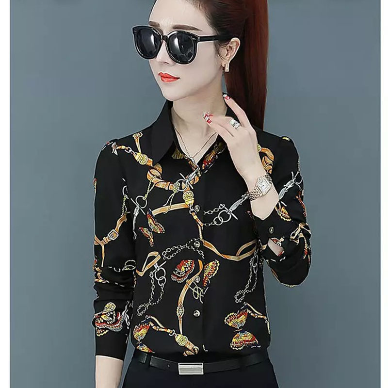 Women Spring Summer Style Blouses Shirts Lady Casual Long Sleeve Turn-down Collar Flower Printed Blusas Tops DF2700