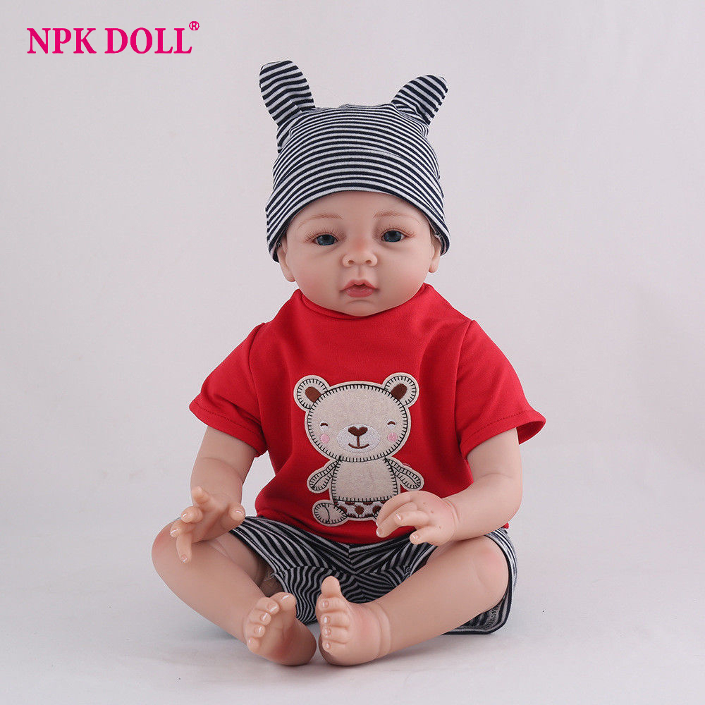 NPKDOLL 55cm Soft Silicone complete Reborn Baby Doll Lifelike Newborn doll 22 Inches Full body Vinyl Boneca BeBe For boys gift