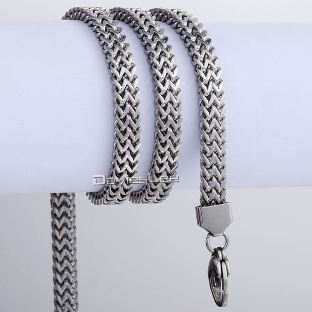 6mm 11mm Mens Chain Boys DOUBLE FOXTAIL BOX Silver Tone Stainless Steel Necklace Bulk Sale High Quality Jewelry LKNM87