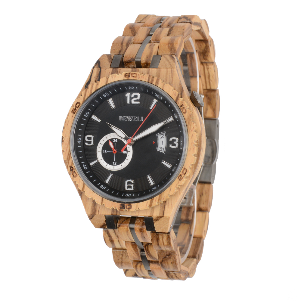 2019 Bewell new model man auto wooden mechanical wristwatches wood automatic watch