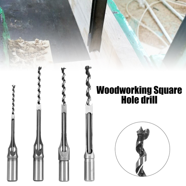 4PCS HSS Twist Drill Bits Woodworking Drill Tools Kit Set Square Auger Mortising Chisel Set Square Hole Extended Saw Micro Tips