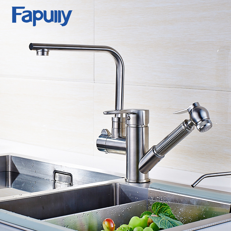 Fapully Kitchen Sink Faucet Brushed Nickel Pull Out Faucet All Around Rotate Swivel Multi-directional Kitchen Faucet 519-33N