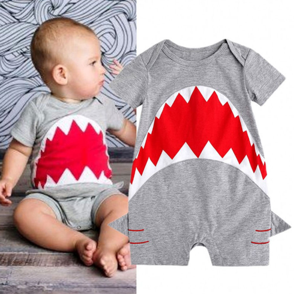 Summer Cute Newborn Baby Short Sleeve O neck 3D Shark Tooth Prints Rompers Jumpsuit Gray Overalls baby onesie for boys girls Y2 baby rompers o neck 100