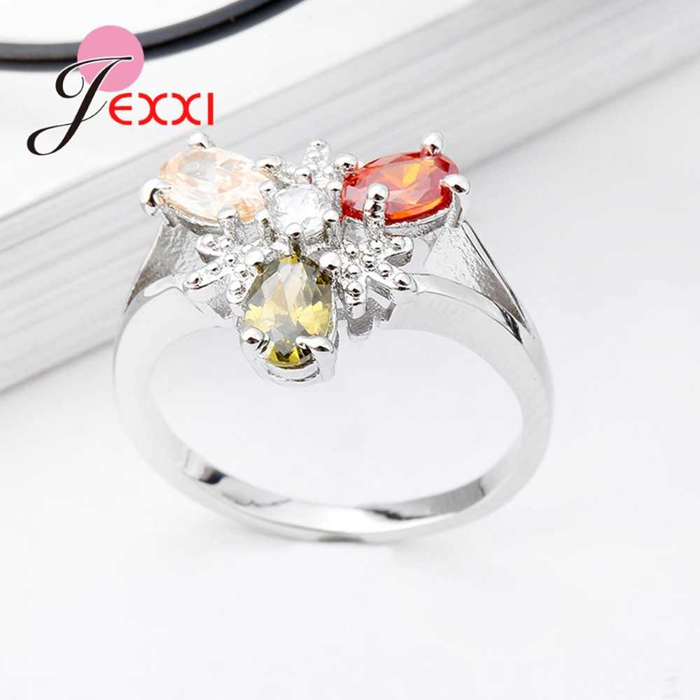 Wholesale New Shinning Three Clear Color Cubic Zirconia 925 Sterling Silver Rings Unique Design Girl's Engagement Ring