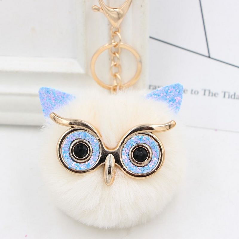 Wholesale Cute Rhinestone Owl Keychain 23 Colors Lovely Fur Pompom Animal Owl Key Chain Women Bag Charm Pendant Car Key Rings