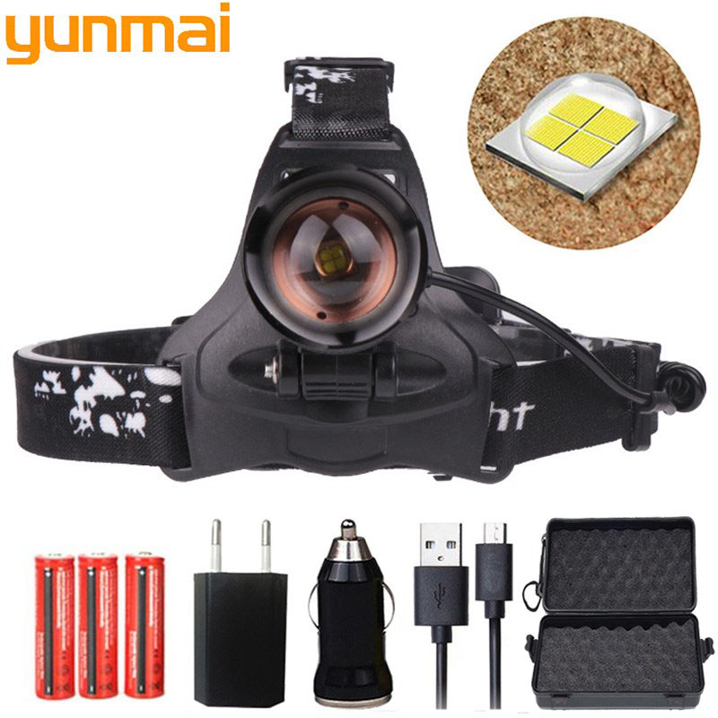 Super Bright ZOOM 80000LM 3X T6 LED Headlamp Head Light Torch Lamp 18650 Battery