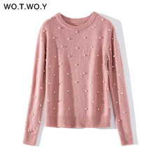 WOTWOY Pearl Beading Cashmere Sweater Women Pullover Knitted Long Sleeve Autumn Winter Sweaters Women Knit Top Femme Jumper 2018