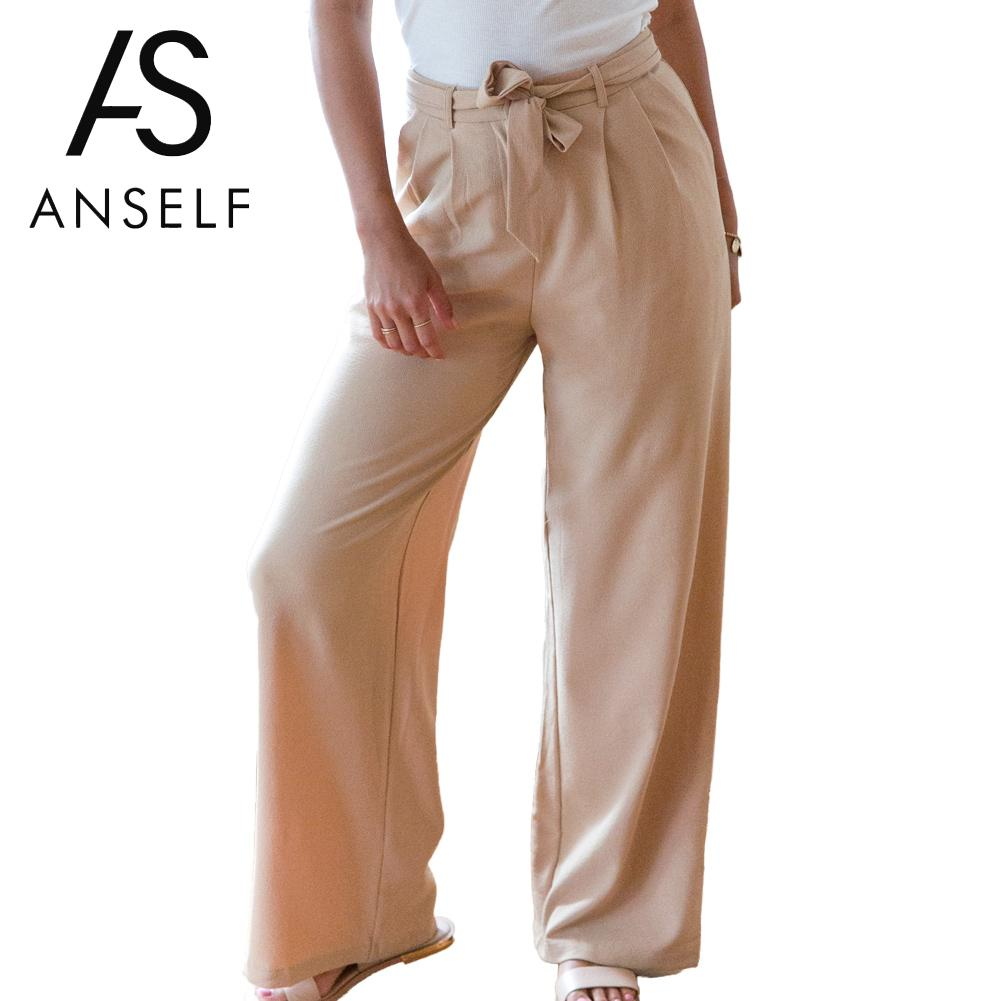 Anself 2019 Women Casual Loose Wide Leg   Pants   Vintage High Waist Trousers Casual Oversized Solid Long   Pants     Capris   Plus Size