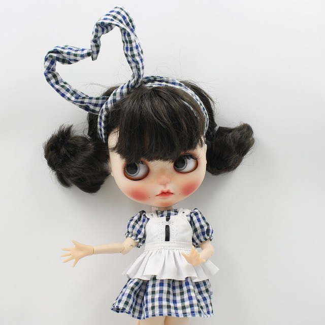 Neo Blythe Doll Plaid Dress Headdress