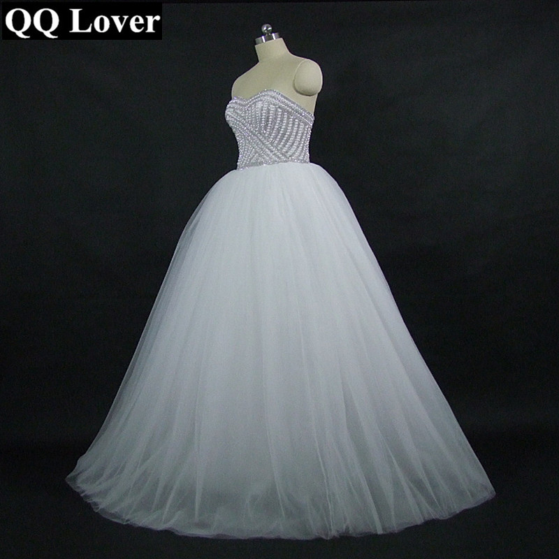 QQ Lover 2019 New Bling Bling Beaded Ball Gown Wedding Dress Luxury Bridal Gown Robe De Mariage Vestido De Noiva