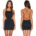 Women Bodycon Dress 2016 Sexy Backless Mini Spaghetti Strap Black Blue Pencil Club Party Dresses 31