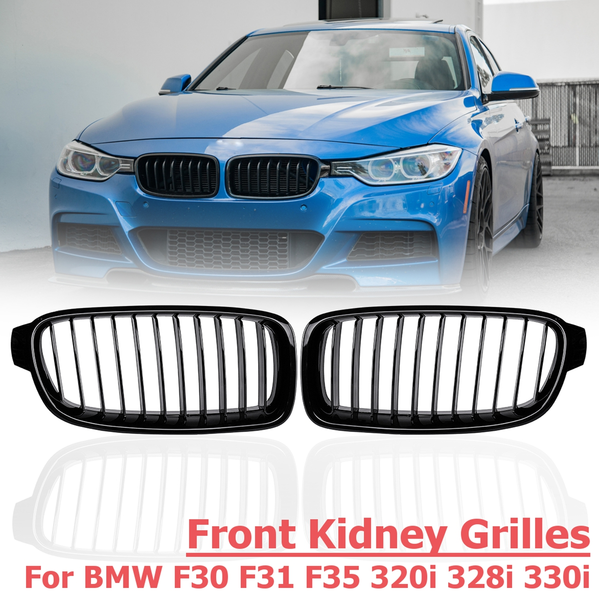 1 Pair Front Kidney Grilles Gloss Black Styling Racing Grills replacement Grilles for BMW F30 F31 F35 320i 2012-20171 Pair Front Kidney Grilles Gloss Black Styling Racing Grills replacement Grilles for BMW F30 F31 F35 320i 2012-2017