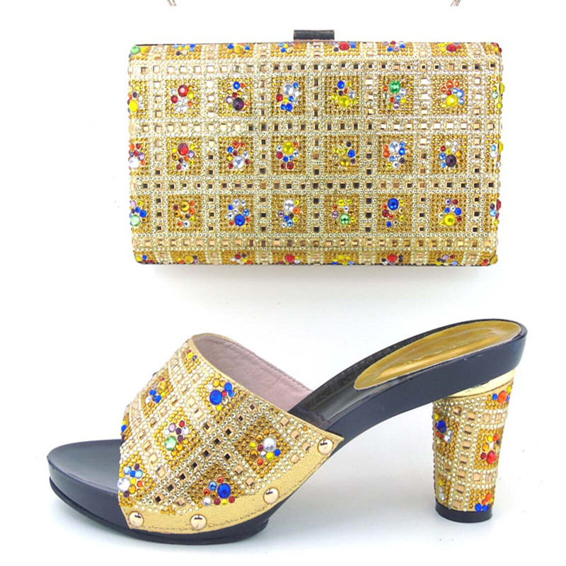 ФОТО Italian Shoes With Matching Bags Set Nice Quality African Shoes And Bag Sets With Rhinestones TH16-58 Size 37-43