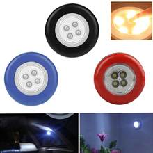 Wheel Shaped Bright 4 LED Mini Night Light Wall Car Cordless Touch Stick Lamp Wall Lamps New(China)