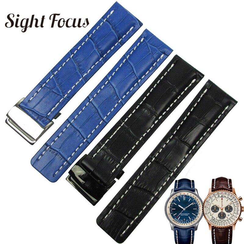 Di alta Qualità di Cinturini 22 millimetri 24 millimetri Nero Marrone Blu Cinturini per Breitling Wristband Del Braccialetto di Cuoio Cinghie Correas Masculino