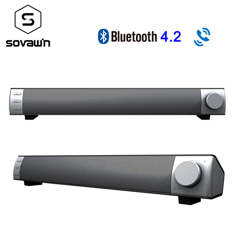 10W Wireless Sound Bar With Subwoofer Bluetooth 4.2 Speakers Portable TV PC 3D Stereo Music Surround Speaker Support TF Card AUX цена