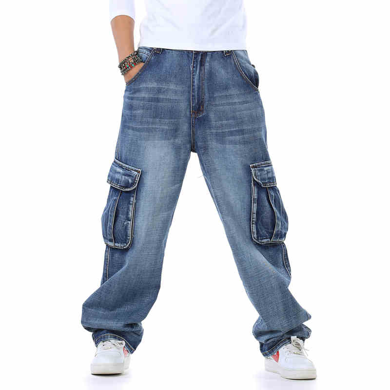 New Arrival Men s Spring Hiphop Multi pocket Straight Jeans Male Loose and Plus Size Denim