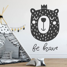 Cute Bear Wall Decal For Baby's Bedroom Be Brave Vinyl Wall Sticker, Bear Art,Nursery Decal, Baby Shower Gift Nordic Style BO07 a brave bear
