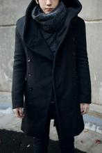 2017 Fashion Cheap Mens Pea Coat With Hood Double Breasted Long Wool Trench Coat Men Overcoat,Grey Black Navy Blue,Plus Size 3XL