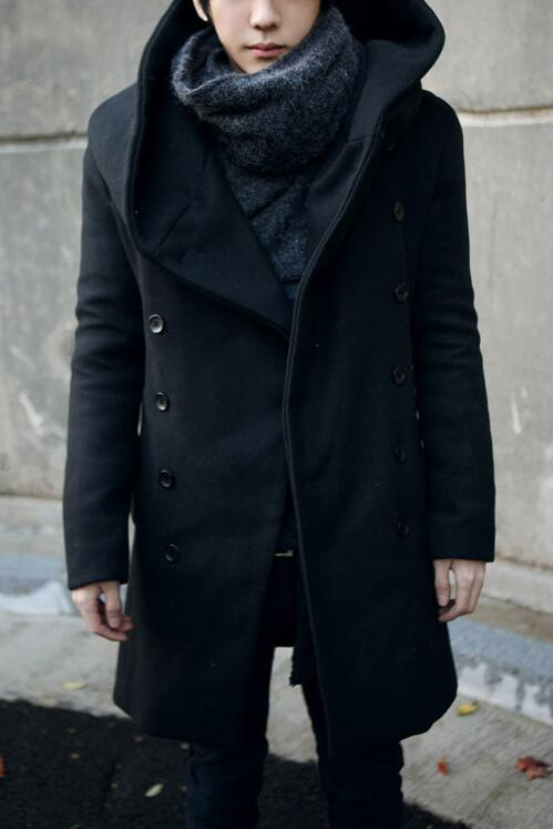 Popular Long Black Pea Coat with Hood-Buy Cheap Long Black Pea
