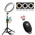 Светодиодная кольцевая лампа с регулируемой яркостью для макияжа YouTube  профессиональная лампа для фотосъемки  штатив для телефона  Bluetooth  пу...