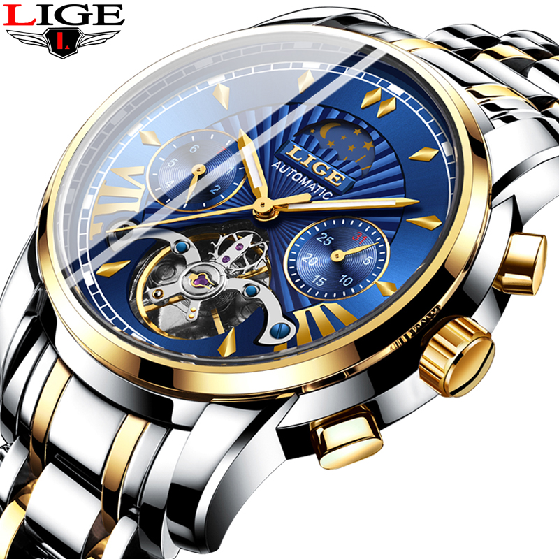 2019 LIGE Clock Classic Tourbillon Blue Dial Luxury Men Automatic Watches Stainless Steel Waterproof Mechanical Watch For Men