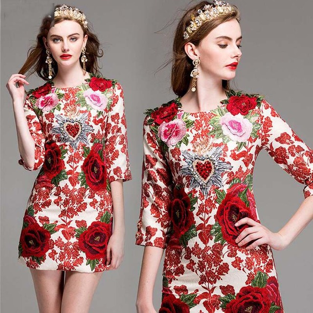 OLN Summer Autumn Ladies Red Dress Floral Embroidered Half Sleeves ...