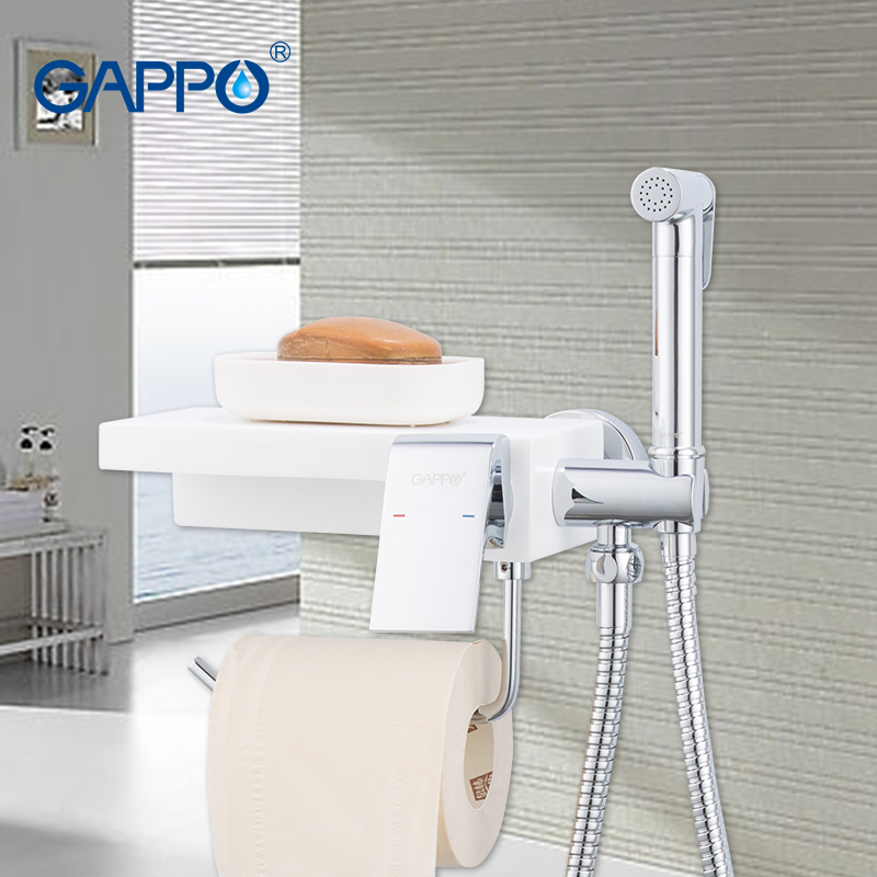 GAPPO Bidet Faucets Toilet Faucet Anal Shower Irygator Bath Bidet Sprayer Hygienic Shower Set Anal Douche Bathroom Shelf Holder