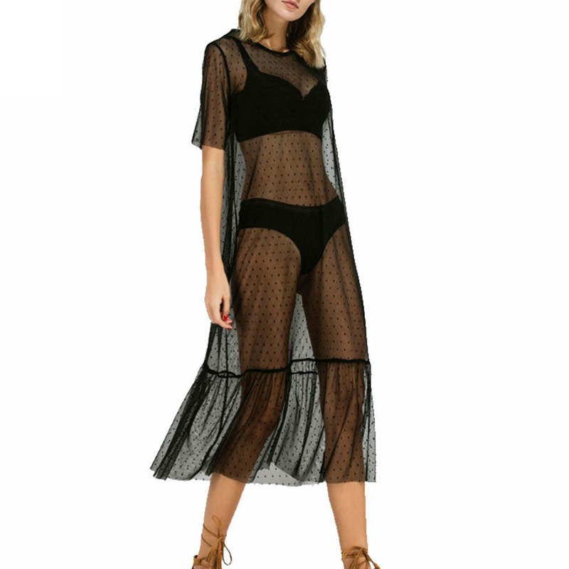 Sexy Women Party Evening Black Mesh Dress Sheer Dot Dress Tulle Lace Long Dress