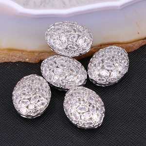Image 3 - 5PCS ZYZ183 9817 Micro Pave CZ Oval Shape beads For Bracelet Necklace Jewelry Making Spacer Connector Metal Beads Findings