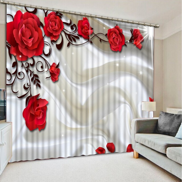 New Big Red Flower Pattern Blackout Curtains For Bedroom Polyester Cotton Customizable 3D